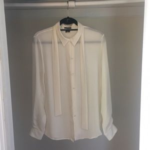 Theory cream 100% silk blouse size large